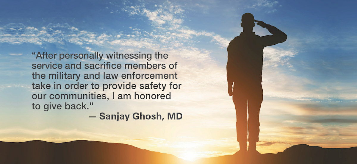 military and law enforcement message with man on hill saluting the sunrise