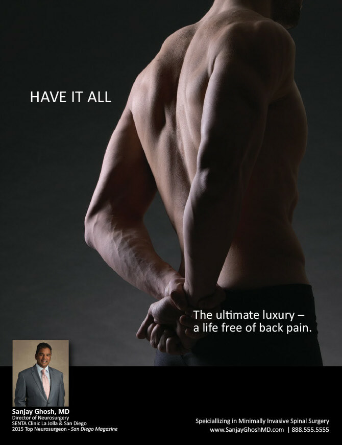 dr sanjay ghosh neurosurgeon bentley ad with image of back