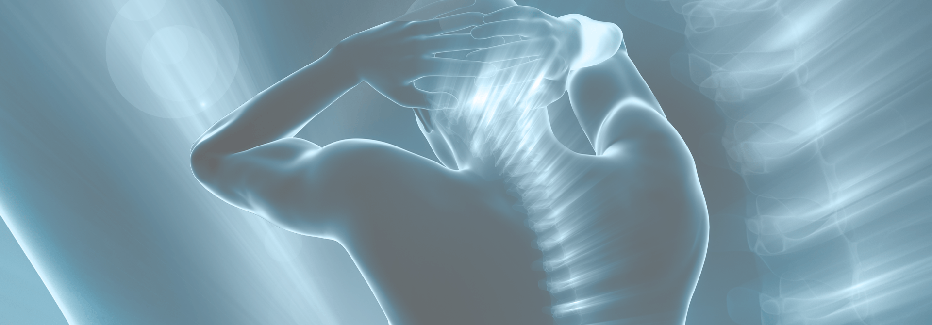 man silhouette with his hands on his head and his spine lit up in blue